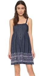 Anna Sui Floral Embroidered Denim Dress Indigo Multi