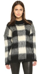 Just Female Check Knit Sweater Black White