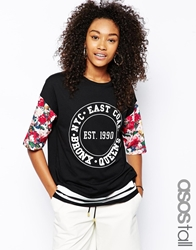 Asos Tall Oversized T Shirt With Floral Bronx Print Black