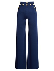 Balmain Wide Leg Knitted Trousers Blue