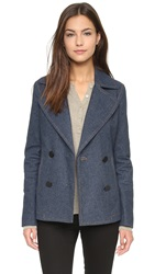 Atm Anthony Thomas Melillo Brushed Japanese Indigo Pea Coat Navy
