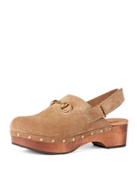 Gucci Amstel Studded Suede Clog Taupe