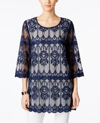 Alfani Prima Embroidered Illusion Tunic Only At Macy's Navy Nautical