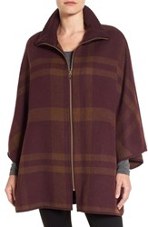 Via Spiga Women's Zip Front Plaid Cape Burgundy Multi