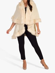 Chesca Luxury Knitted Faux Fur Cape Cream