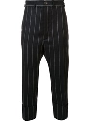 Vivienne Westwood Pinstripe Drop Crotch Cropped Trousers Black