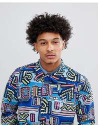 Herschel Supply Co Hoffman Collab Packable Coach Jacket With Back Print In Blue Abstract Print Abstract Geo Blue