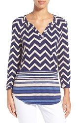 Women's Lucky Brand Chevron Print Split Neck Top Navy Multi