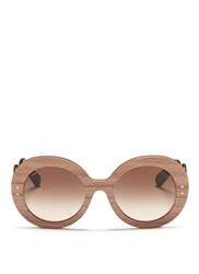 Prada Swirl Temple Round Wooden Sunglasses Brown