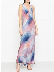 Jigsaw Spiral Print Maxi Dress Blue Pearl Pink Ash