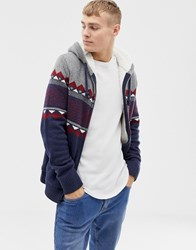 Hollister Fairisle Chest Stripe Hooded Cardigan Borg Lined In Navy Grey Chest Stripe