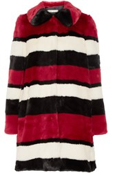 Alice Olivia Kinsley Oversized Striped Faux Fur Coat Claret