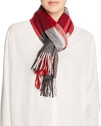 Bloomingdale's C By Cashmere Color Block Scarf Black Gray Red