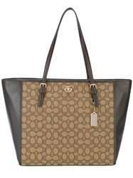 Coach Turnlock Tote Women Cotton Calf Leather One Size Brown