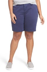 Sejour Plus Size Women's Bermuda Shorts Navy Peacoat