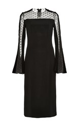 Monique Lhuillier Flared Sleeve Point D'esprit Dress Black