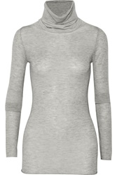 Enza Costa Cashmere Turtleneck Sweater Gray