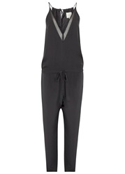 Mason By Michelle Mason Charcoal Silk Georgette Jumpsuit