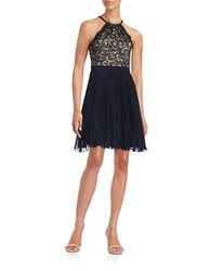 Xscape Evenings Lace Fit And Flare Halter Dress Navy Nude