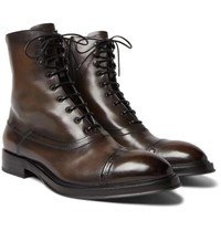 Berluti Shearling Lined Leather Boots Brown