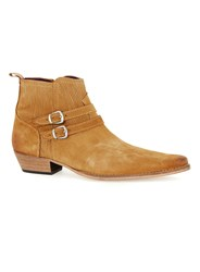Topman Brown Tan Suede Low Buckle Boots