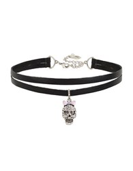 Betsey Johnson Chokers Skull Charm Necklace Black