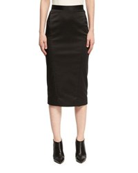 Zac Posen Satin Pencil Skirt Black