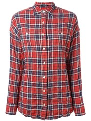 R 13 R13 Checked Twisted Back Shirt Red