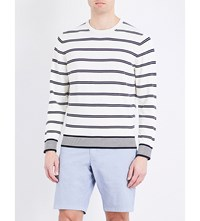 Tommy Hilfiger Hendriks Striped Knitted Cotton Jumper Snow White
