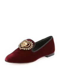 Giuseppe Zanotti Velvet Skull Crystal Smoking Slipper Bordeaux