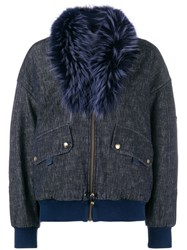 Mr And Mrs Italy Trimmed Collar Bomber Jacket Blue