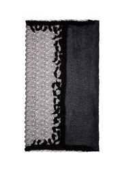 Franco Ferrari Lace Border Shimmer Knit Scarf Black
