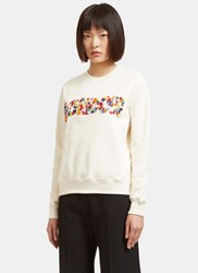 Msgm Floral Beaded London Crew Neck Sweater White