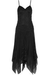 Haute Hippie Marty's Girlfriend Asymmetric Ruffled Lace Point D'esprit And Silk Crepe De Chine Midi Dress Black