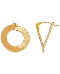 Macy's Patterned Pdc Twisted Hoop Earrings In 14K Gold