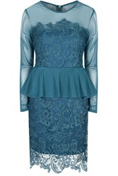 Alice And You Lace Overlayer Peplum Dress Teal