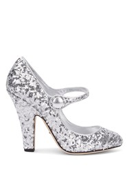Dolce And Gabbana Silver Sequin Court Shoes