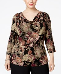 Msk Plus Size Printed Draped Glitter Blouse Floral