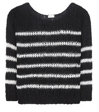 Saint Laurent Striped Virgin Wool And Mohair Blend Sweater Black
