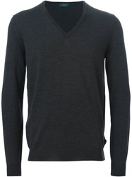 Zanone V Neck Sweater Grey