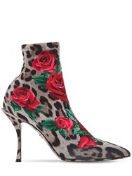 Dolce And Gabbana 90Mm Lori Printed Jersey Ankle Boots Leopard Pink