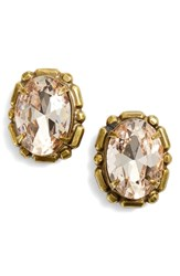 Sorrelli Oval Crystal Stud Earrings Beige