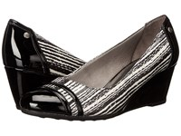 Lifestride Juliana Black White Striped Snake Gem Patent Women's Wedge Shoes