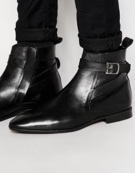Asos Boots In Black Polish Leather With Buckle Strap Black
