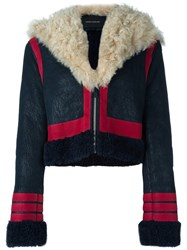 Cedric Charlier Shearling Panelled Jacket Blue