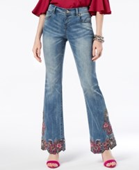 Inc International Concepts Embroidered Flared Jeans Created For Macy's Indigo