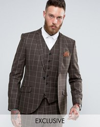 Heart And Dagger Skinny Blazer In Wool Check Brown