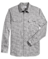 William Rast Men's Baker Camouflage Shirt Grey Camo
