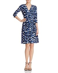 Leota Perfect Wrap Three Quarter Sleeve Dress Painted Leopard Cobalt