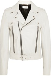 Saint Laurent Leather Biker Jacket White